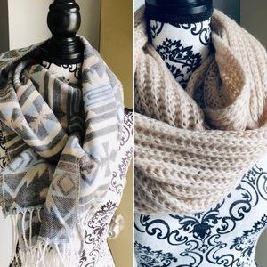 Knit Scarf Bundle (blush and Aztec)
